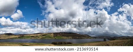 Panoramic of Loch Freuchie, Scotland. - stock photo