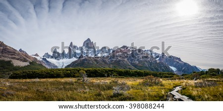 Panoramic of Mount Fitz Roy in Patagonia  - stock photo