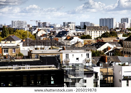 Panoramic of Nantes from Ile de Nantes, France - stock photo