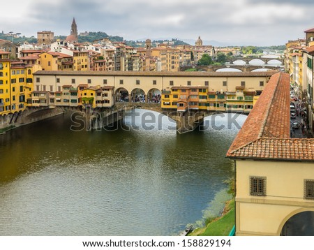 Panoramic of Ponte Vecchio, Florence, Italy