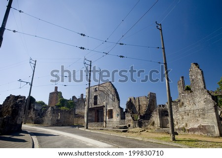 Panoramic of the french village of Oradour-sur-Glane.  Streets of Oradour sur Glane - stock photo