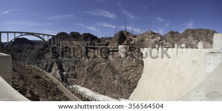 Panoramic of the Hoover Dam. A towering feat of American engineering. - stock photo