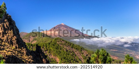 Panoramic of the Teide and Orotava Valley. - stock photo