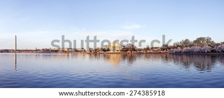 Panoramic of the Tidal Basin Area in Washington DC USA - stock photo