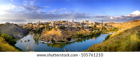 Panoramic of Toledo - stock photo