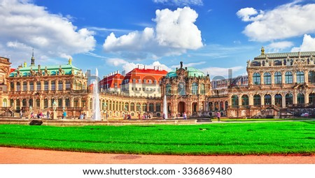 Panoramic on Zwinger Palace - royal palace since 17th century in Dresden. Today, Zwinger  complex are  most visited place in Dresden. Germany. - stock photo