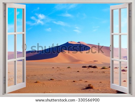 Panoramic open window view to sand desert - stock photo