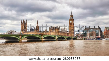 Panoramic overview of London with the Clock Tower and Houses of Parliament
