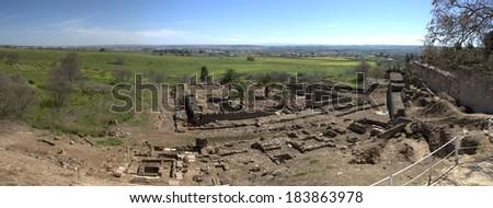 Panoramic overview of Medina Azahara, Madinat al-Zahra, Near Cordoba, Andalusia, Spain.  - stock photo