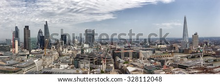 Panoramic overview of the London, UK - stock photo
