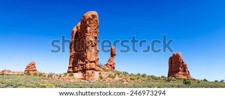 Panoramic photo, Arches National Park, Utah, USA - stock photo