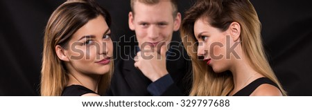 Panoramic photo of sexual love triangle relationship - stock photo