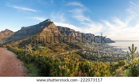 Panoramic photo of Table Mountain and the Twelve Apostles at dusk from Lion's Head - landscape exterior