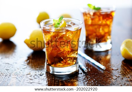 panoramic photo with sweet iced tea - stock photo