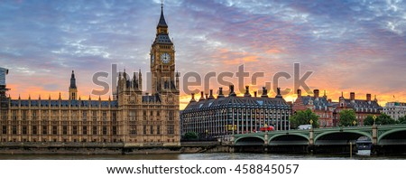 Panoramic picture of Big Ben in London.