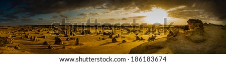 Panoramic Pinnacles at sunset, Western Australia - stock photo