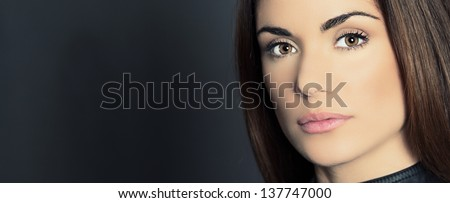 Panoramic portrait of beautiful woman model with fresh daily makeup - stock photo