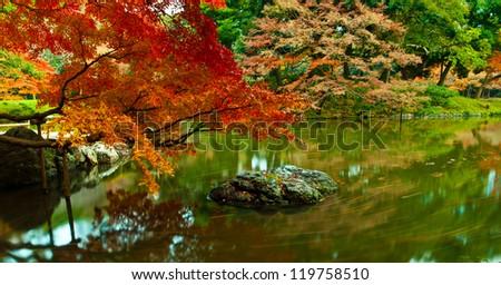 Panoramic scene of Japanese style zen garden, Koishikawa korakuen garden, Tokyo, Japan - stock photo