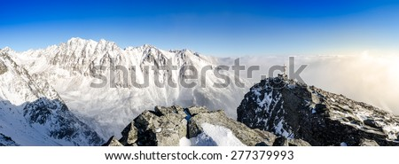 Panoramic scenic view of winter mountains in High Tatras, Slovakia, Europe