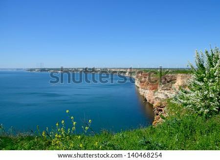 Panoramic sea view on cape Kaliakra in Bulgarian seaside - stock photo