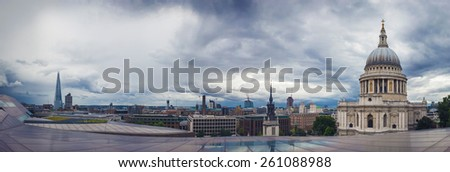 Panoramic shot about the St.Paul Cathedral and the Shard, London, UK - stock photo