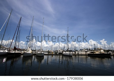 Panoramic Shot of a Yacht Marina - stock photo