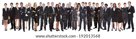 Panoramic shot of confident businesspeople standing against white background