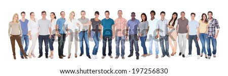 Panoramic shot of diverse people in casuals standing against white background - stock photo