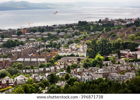 Panoramic shot of misty Dundee in Scotland