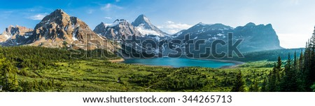 Panoramic shot of Mount Assiniboine in the light of the setting sun
