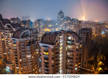 Panoramic shot of night city view - stock photo