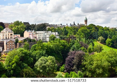 Panoramic shot of the Lambert Redoubt fortress in Luxembourg city, Luxembourg