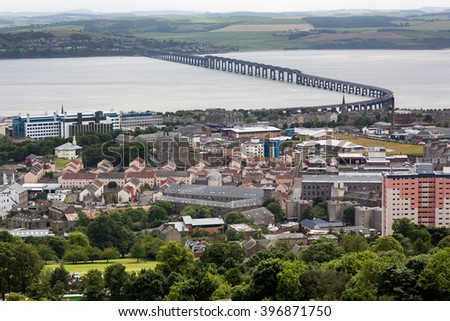 Panoramic shot of the Tay Rail Bridge of foggy Dundee in Scotland