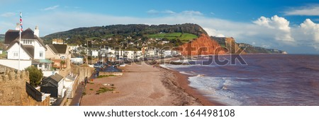 Panoramic shot overlooking Sidmouth Beach Devon England England UK Europe - stock photo