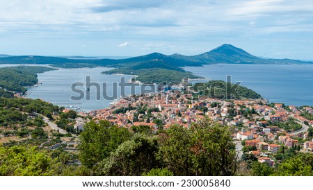 Panoramic sight of Mali Losinj in Croatia - stock photo