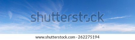 Panoramic sky on a sunny day. - stock photo