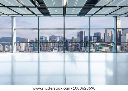 Panoramic skyline and buildings from glass window?hongkong city?china