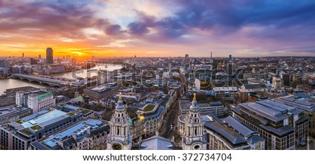 Panoramic skyline of London. Beautiful sunset over central London with famous landmarks, shot from top of St.Paul's Cathedral - London, UK - stock photo