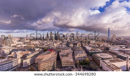 Panoramic skyline of London with Bank district including Stock Exchange Tower, Willis Building, Tower 42, Gherkin, Lloyd`s of London, the Shard and Canary Wharf at the background. - stock photo