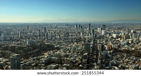 Panoramic skyline of Tokyo city with Mount Fuji in the background.   - stock photo