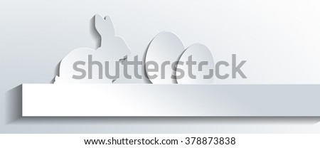 Panoramic Still Life of Easter Rabbit and Eggs - Simple Easter Holiday White Paper Cut Out on White Background with Copy Space - Graphics for Spring Greeting Card. 3d Rendering. - stock photo