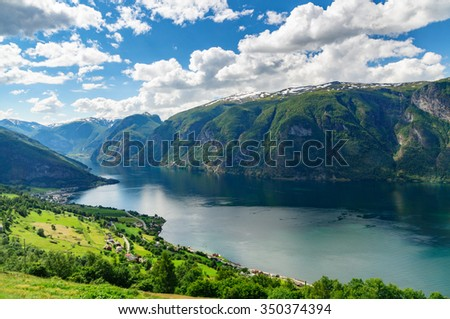 Panoramic sunny view on Aurlandsfjord, Norway - stock photo