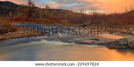 Panoramic sunset landscape at the Provo River, Utah, USA. - stock photo
