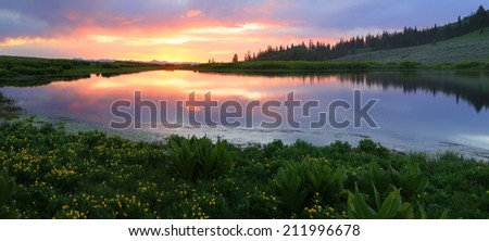 Panoramic sunset landscape in the Utah mountains, USA. - stock photo