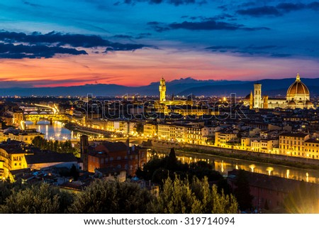 Panoramic sunset over cathedral of Santa Maria del Fiore in Florence, Italy - stock photo
