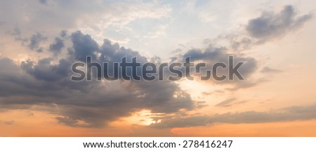panoramic sunset sky background