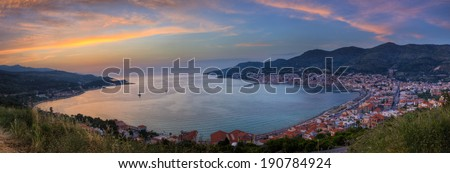 Panoramic Sunset View - Samos, Greece - stock photo