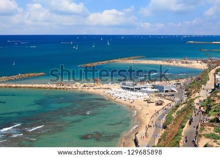 Panoramic top view of Tel-Aviv beach (Mediterranean sea. Israel) - stock photo