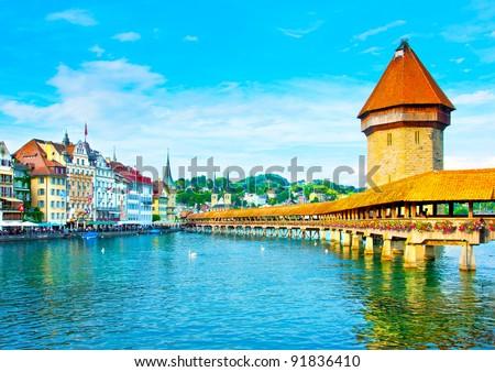 Panoramic v?ew of the older wooden bridge of Europe in Lucerne Switzerland - stock photo