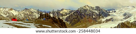 Panoramic Veiw of Camp Canada on Aconcagua. Hight 5000 meters - stock photo